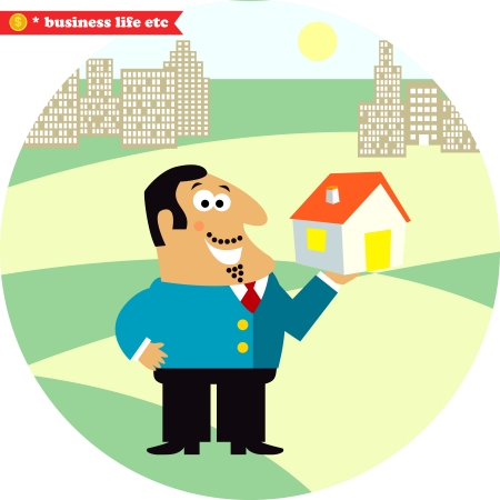 residence: Happy director with new building for office or residence illustration
