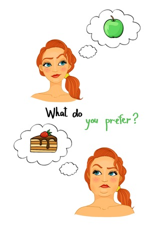 eat right: Fat and slim woman faces, choose the right diet, eat apples not pastries isolated illustration