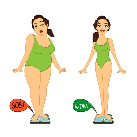 slim body: Fat and slim woman on weights scales, diet and exercises progress isolated illustration