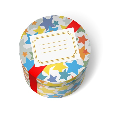 present box: Party present box with stars red ribbon and welcome blank card isolated vector illustration Illustration