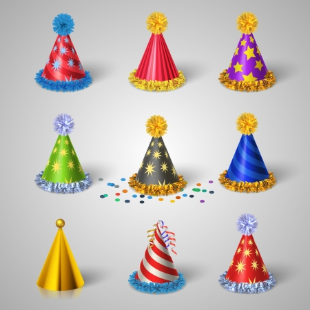 christmas hats: Party hat icons set illustration