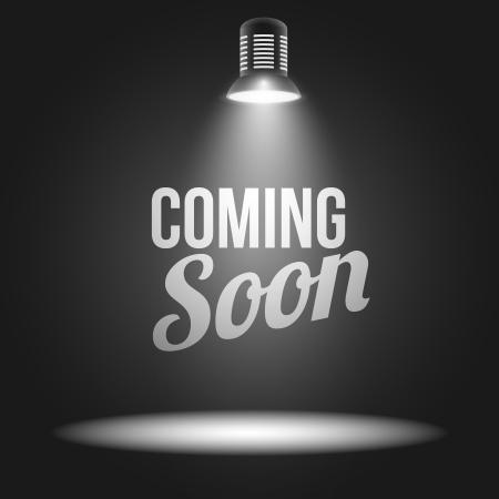 soon: Binnenkort bericht verlicht met licht projector leeg stadium realistische illustratie
