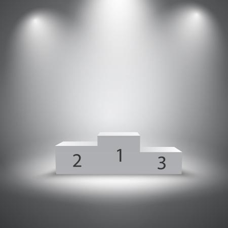 照らされたビジネス受賞者表彰台のベクトル図