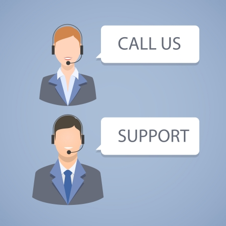 Call center support emblem isolated illustration Vector