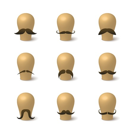 mustaches: Collection of hipster mustaches on hat-blocks isolated illustration
