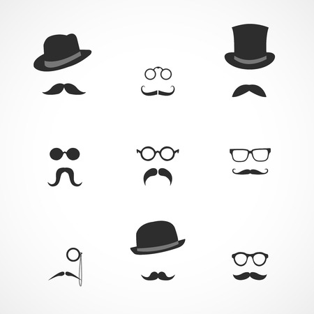 Interface elements collection in retro style mustaches hats and glasses icons isolated vector illustration Vector