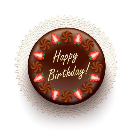 Schokolade Geburtstagskuchen mit Erdbeeren und Kompliment Nachricht isolierte Darstellung Standard-Bild - 24964805