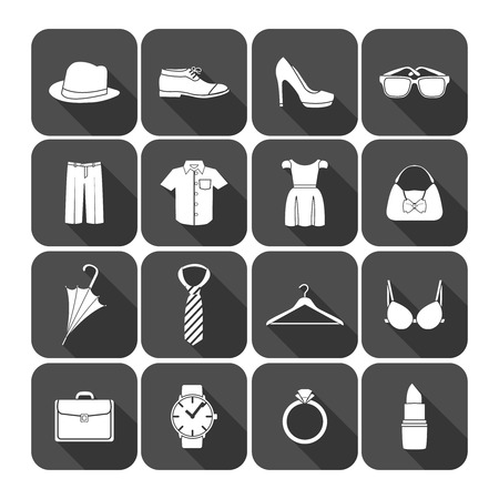 brassiere: Men and women clothes accessories icons of glasses briefcase clock and lipstick illustration