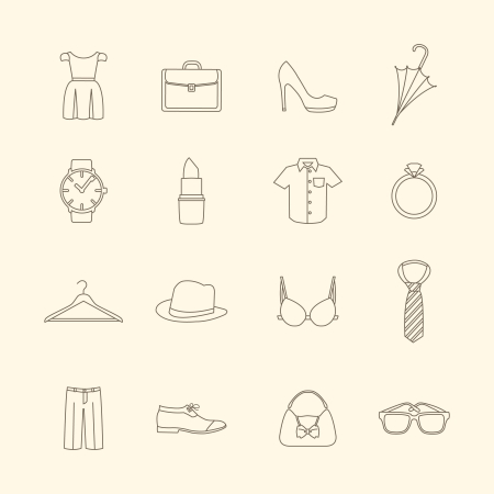 brassiere: Fashion and clothes accessories icons of pants shirt dress and bra illustration
