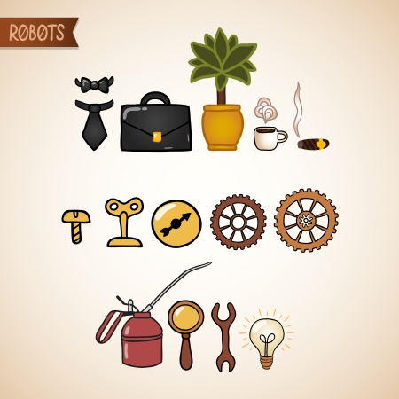 nut bolt: Steampunk technology icons set of bolt nut gear cog and wrench illustration