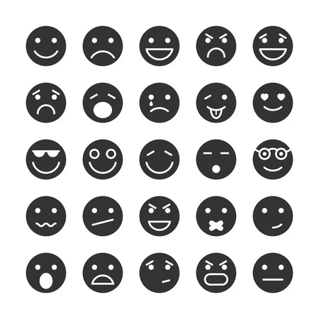 isolated icon: Smiley faces set di icone di emozioni stato d'animo e di espressione, illustrazione, Vettoriali