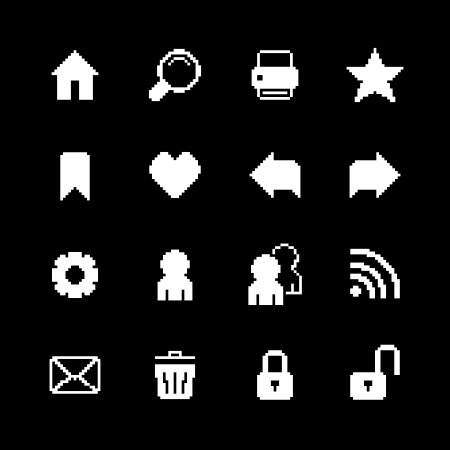 rss feed icon: Contrast pixel icons set for interface design of rss feed email and home isolated illustration Illustration