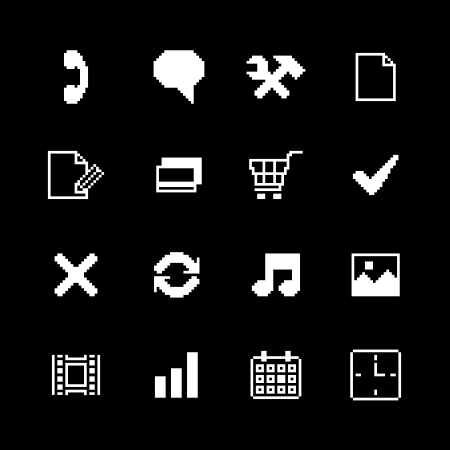 Contrast pixel icons set for interface design of photo music movies and media isolated vector illustration Vector