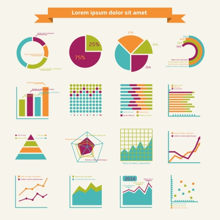 Business infographic elements for finance marketing or strategy report isolated illustration