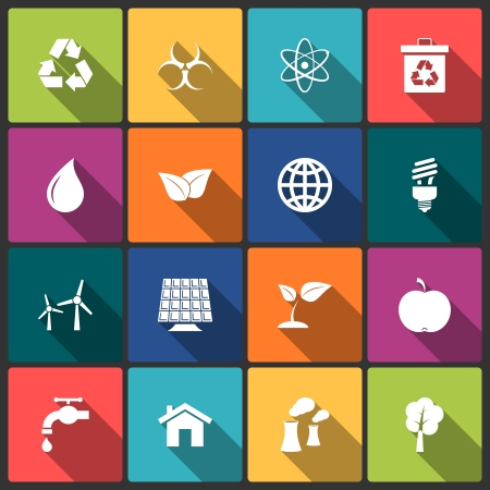 Ecology icons set of light bulb solar and power isolated vector illustration Stock Vector - 24964641