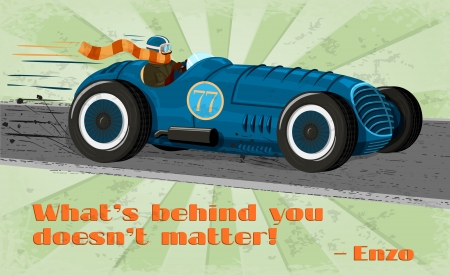 car transportation: Vintage racing car poster isolated illustration
