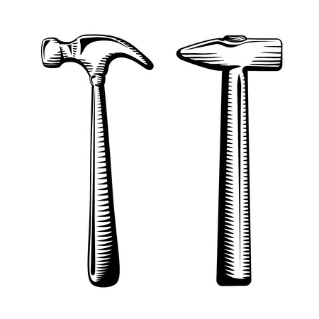 whack: Two isolated hammers illustration
