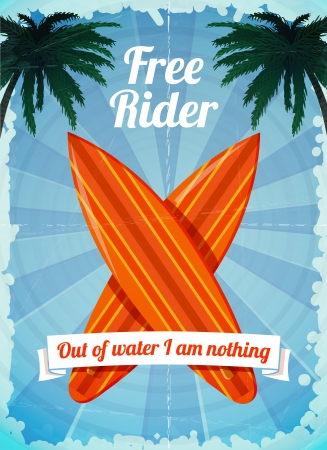 Free rider - ocean vacation surfboards poster vector illustration Vector