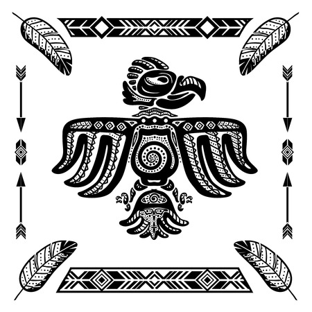 amerikalılar: Tribal Hint kartal dövme vektör illüstrasyon