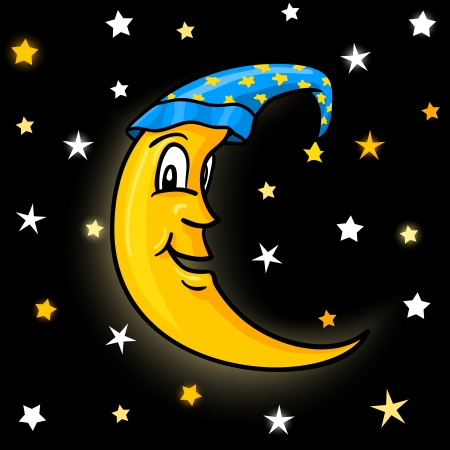 night time: Moon in nightcap with stars on night sky vector illustration