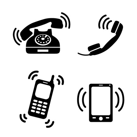 landline: Collection of ringing classic telephone mobile and smartphones isolated vector illustration Illustration