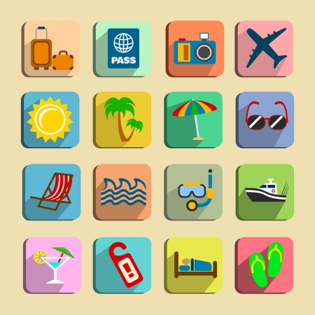 sea bed: Global tourism icons set of hotel beach chair snorkelling and slippers isolated illustration Illustration