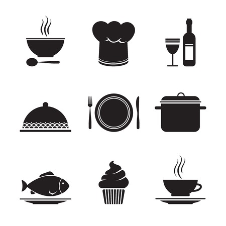 dessert buffet: Collection of restaurant design elements for menu isolated illustration