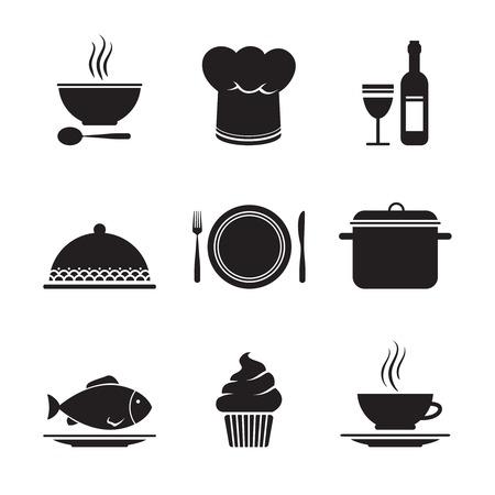 keuken restaurant: Het verzamelen van restaurant design elementen voor menu geïsoleerde illustratie
