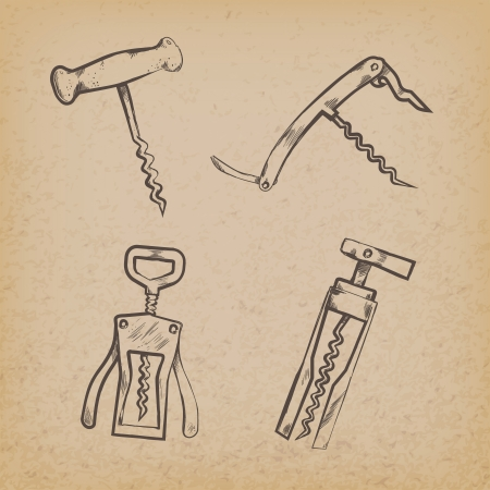 opener: Collection of retro corkscrews illustration