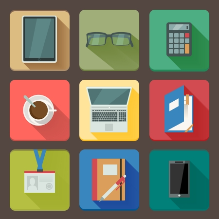 Business workplace icons set of notebook coffee tablet and mobile with shadows illustration Vector