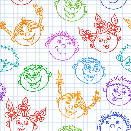 Seamless doodle smiling kids faces pattern illustration