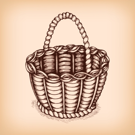 empty basket: Wicker basket emblem isolated illustration