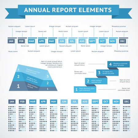 measures: Presentation infographics charts for financial measures and annual performance reports vector illustration