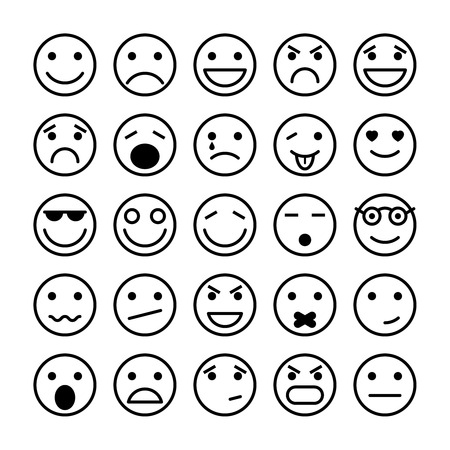 laughing: Smiley faces elements for website design isolated vector illustration