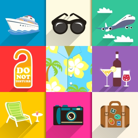 Aloha shirt. Travel and vacation icons set with sunglasses yacht and beach chair vector illustration
