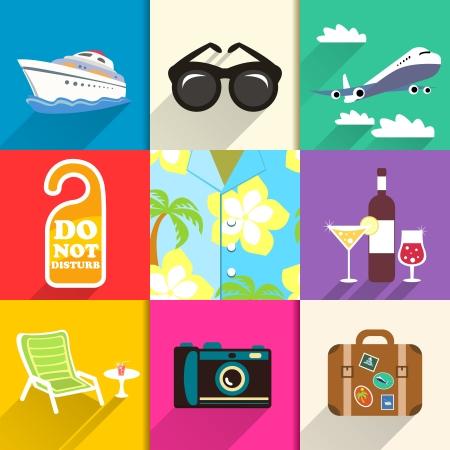 chair vector: Camicia Aloha. Viaggi e vacanze icone set con occhiali da sole yacht e illustrazione sedia a sdraio vettoriale