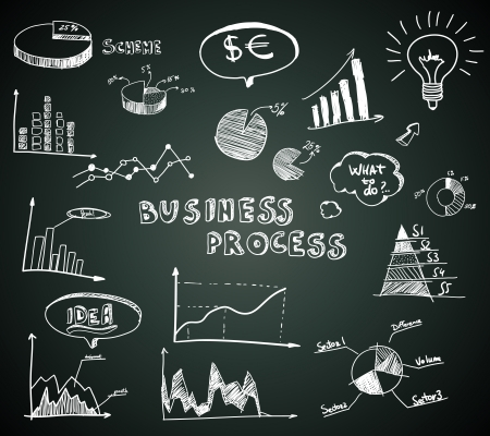 Doodle business diagrams set on blackboard vector illustration Vector