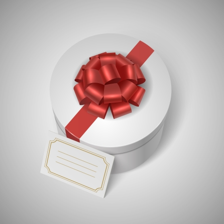 lable: Classic giftbox with red ribbon, bow and blank lable for message vector illustration