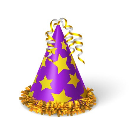 birthday hat: Birthday violet hat with yellow stars isolated vector illustration