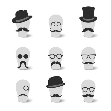 Collection of vintage mustaches hats and glasses on hat-blocks icons isolated vector illustration Vector