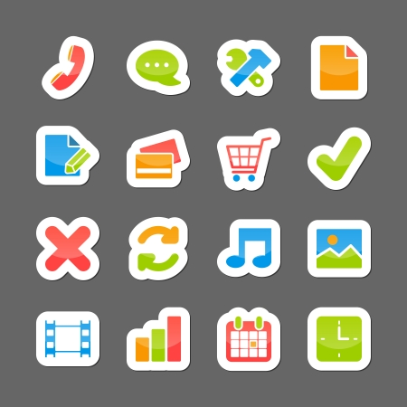 Ecommerce layout interface elements on cartoon stickers isolated vector illustration Vector