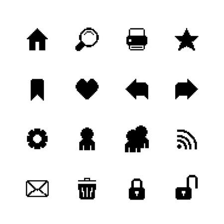 Black pixel icons set for navigation of back forward security preferences isolated vector illustration