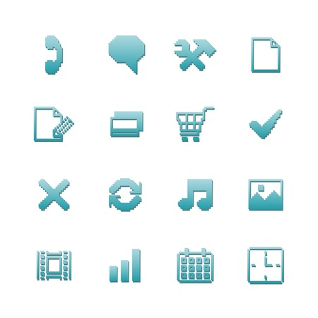 preferences: Pixel icons set for navigation of online purchase payment and preferences isolated vector illustration