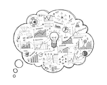 Doodle tekstballon icoon met infographics geïsoleerd vector illustratie Stock Illustratie