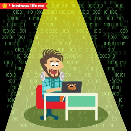 Business life. Software engineer working on his notebook vector illustration