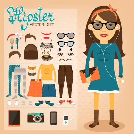 girl glasses: Hipster character pack for geek girl with accessory clothing and facial elements vector illustration Illustration