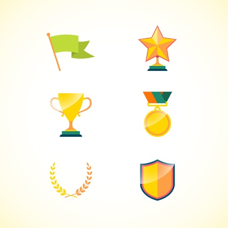 community recognition: Set of achievement badges for motivation and incentive isolated vector illustration