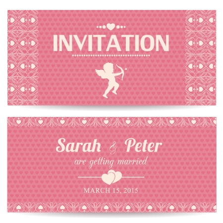 Valentine day romantic invitation card or postcard vector illustration Vector