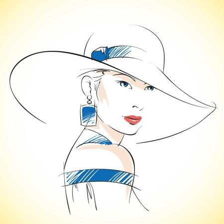 illustrazione moda: Fashion sketch di bella giovane donna con cappello e gli occhi azzurri, illustrazione vettoriale