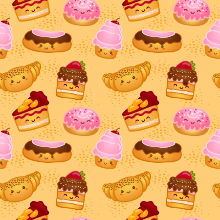 Seamless sweet baked pastries vector illustration pattern Vector